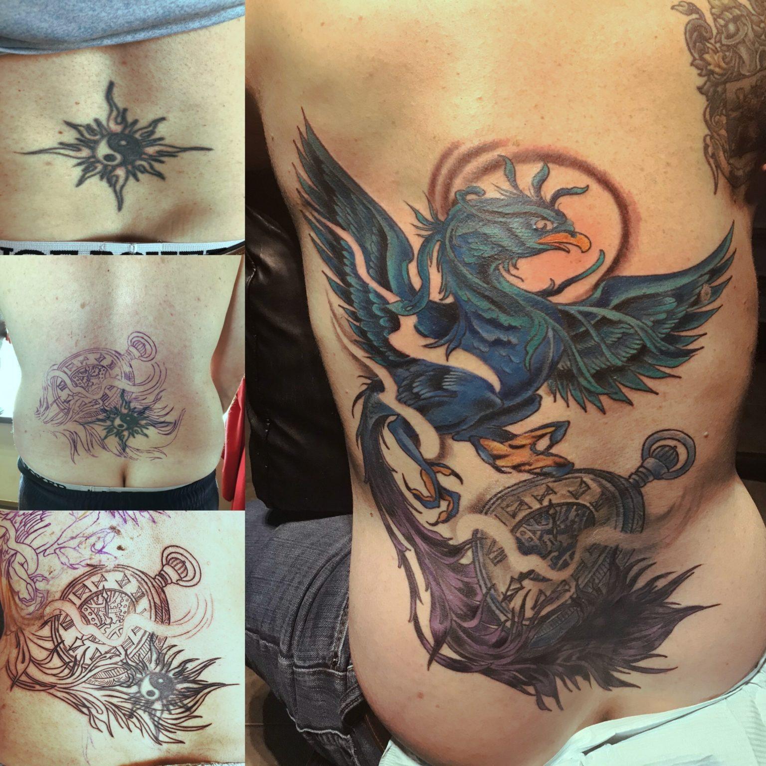 Blue Bird Watch Cover Up Back Tattoo