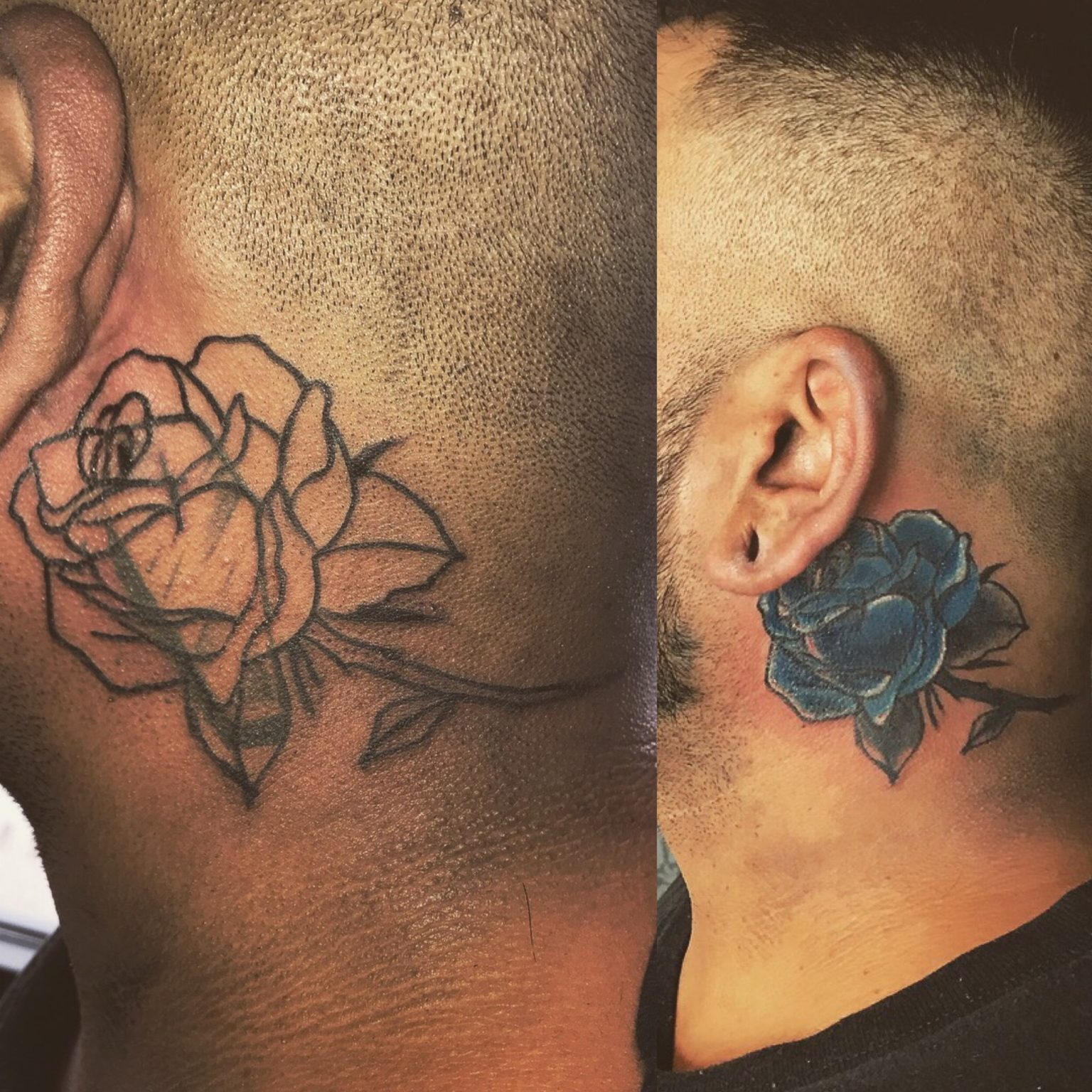 Rose Cover Up Neck Tattoo