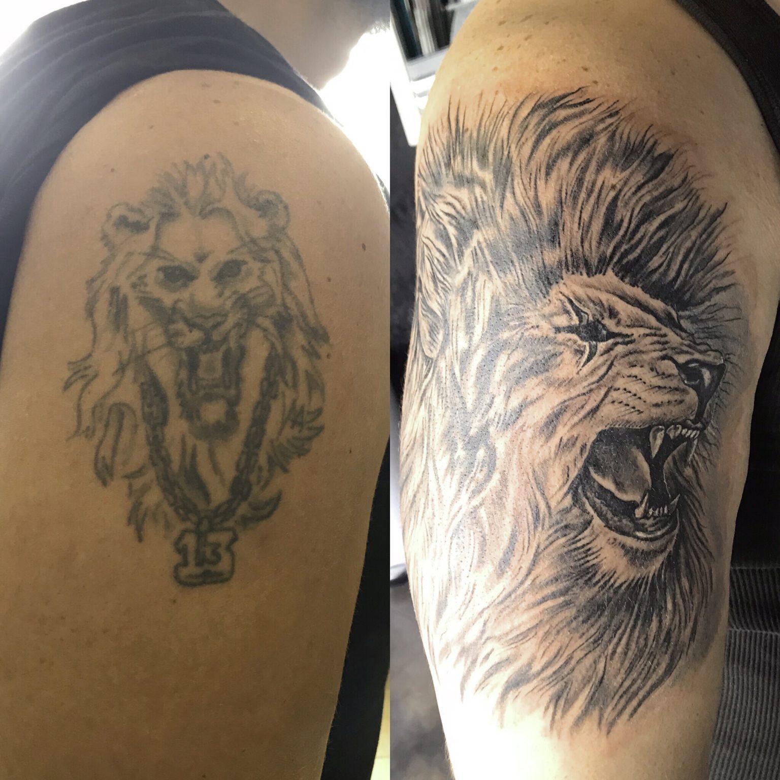 Lion Cover Up Shoulder Tattoo